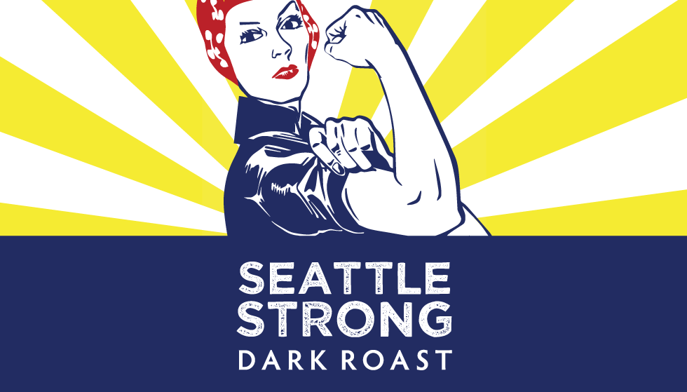 Seattle Strong dark roast coffee, beans, strong seattle, colombia